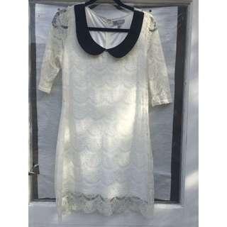 SES White Lace Drape Dress