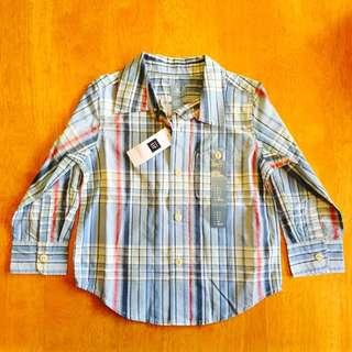 Gap新款長袖 格子襯衫 英國王妃 小王子款 長袖 格子衫