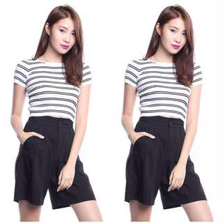 (PO) Double Lined Striped Cropped Top
