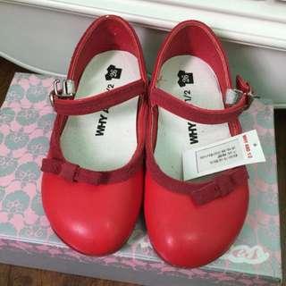 why and 1/2 紅色女童鞋26號