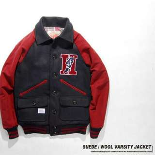 HOMETOWN Suede/Wool Varsity Jacket 海軍藍/酒紅 棒球外套 Remix Provider Overkill可參考