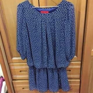 便宜賣 專櫃品牌jessamin深藍七分袖縮腰雪紡長上衣SM可穿