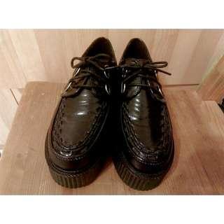 皮質厚底鞋