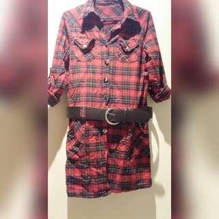 英倫風紅色格紋洋裝