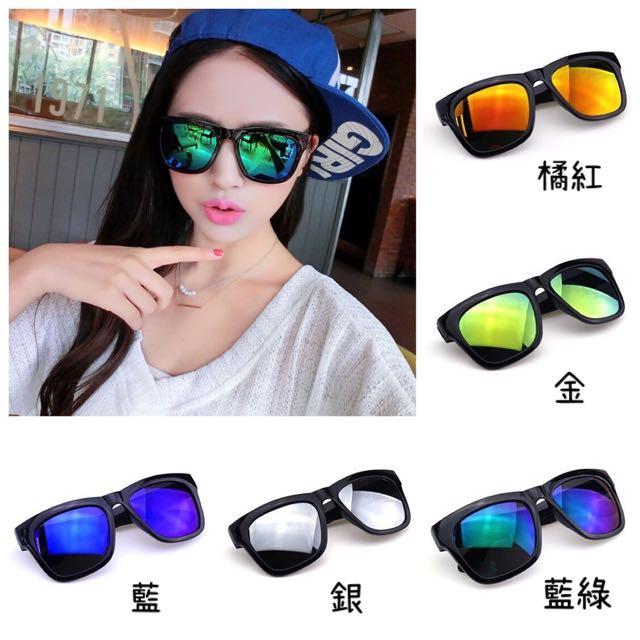 新款兩副$199滿五送一♥️韓國炫彩水銀鏡面粗框太陽眼鏡♥️ 男女墨鏡 日韓熱賣 EXO GD時尚風格 復古搭配 阿華有事嗎