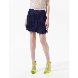 ZARA Fringe Skirt  : Navy Blue , BRAND NEW CONDITION !!