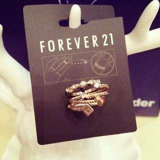 預購款⚓️歐美代購Forever21桃心 方塊鑲鑽螺旋精緻指節戒 戒指