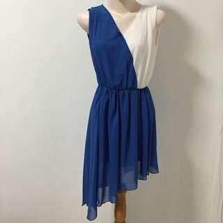 Asymmetrical Blue And White Dress
