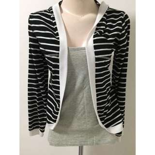Black And White Stripped Cardigan