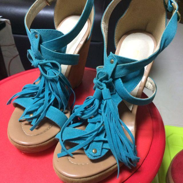土耳其藍流蘇楔型美鞋(23號)