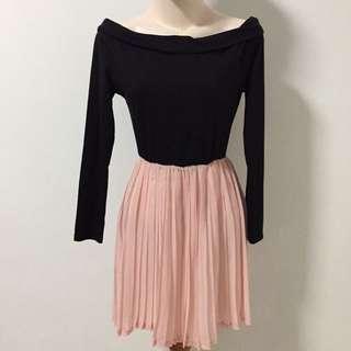 Black Off Shoulder Pink Dress