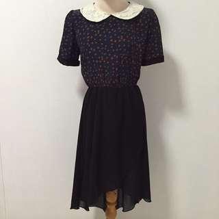 Black Asymmetrical Dress With Polka Dots Top