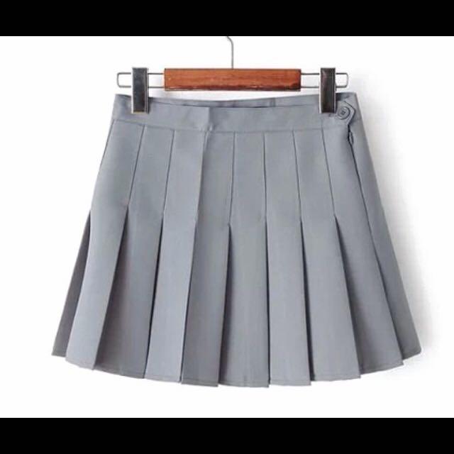 🇰🇷韓系高腰百摺裙(灰色)