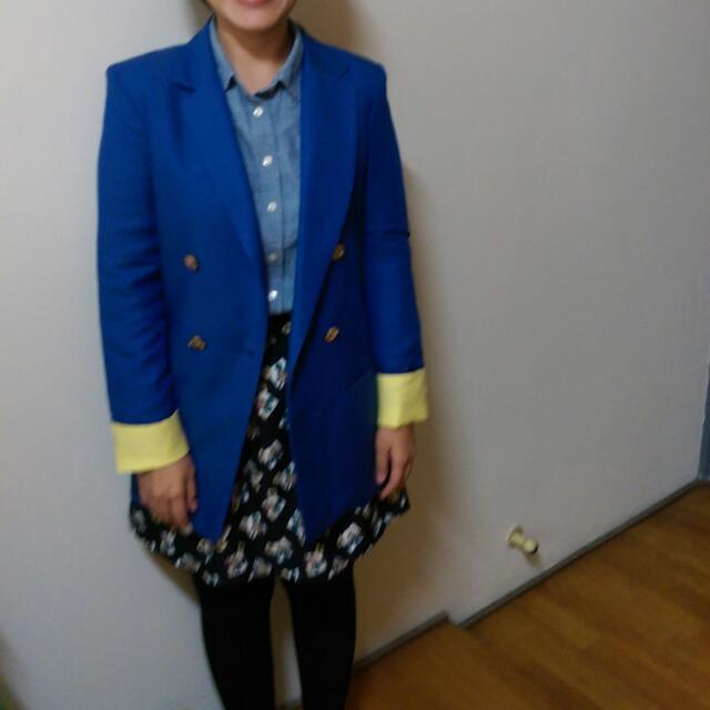 韓國帶回藍黃撞色長版西裝外套
