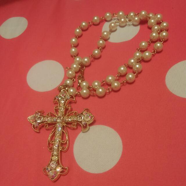【全新】水鑽十字架珍珠項鍊