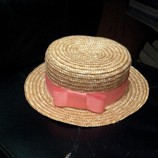 (降)粉橘緞帶草帽