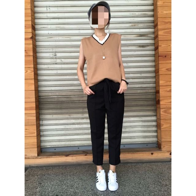 韓製 棕色線條無袖針織