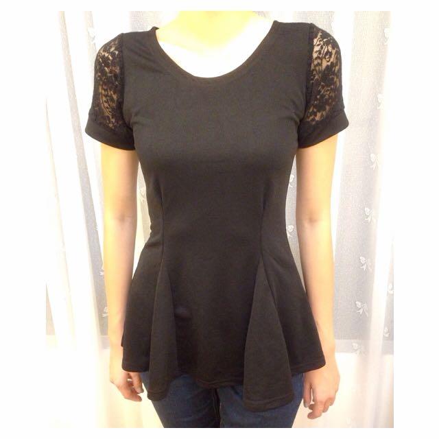 韓貨 黑色蕾絲上衣 小洋裝