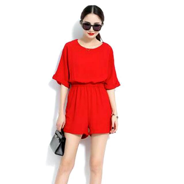 紅色 圓領收腰 純色連身褲