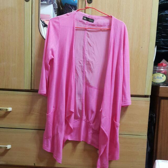 全新 粉色 薄外套 長版