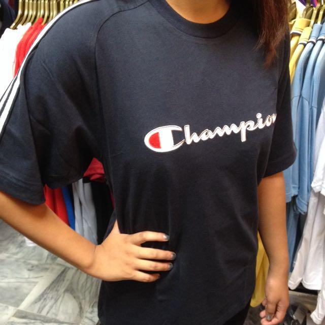 深藍Champion @ 肩灰白條紋