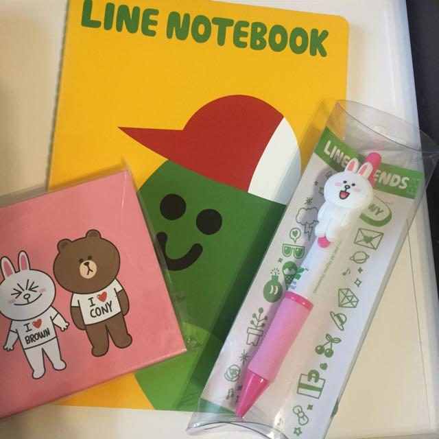 『Line正版』筆記本➕原子筆➕彩色memo本✅(三件一起售)