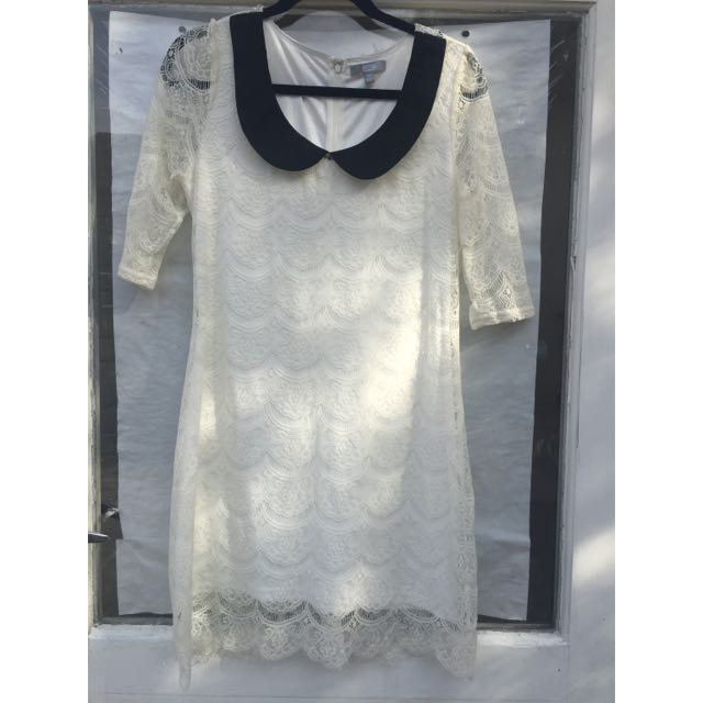 SES White Lace Drape Dress