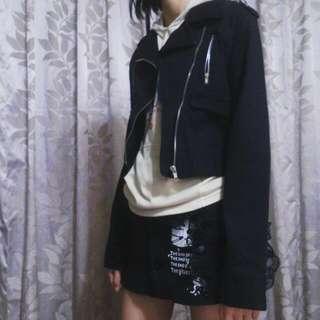 設計款👿水洗布騎士外套👿一片式蕾絲拼接短裙👿