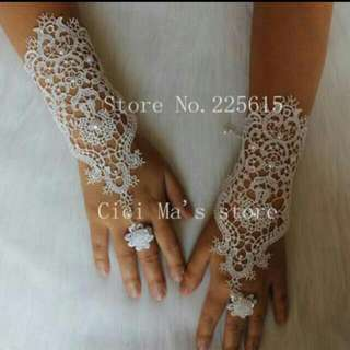 White Pearl Lace Wedding Bridal Gloves, Ring Bracelet