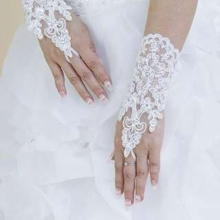 Hot Sale! High Quality Write, Ivory Fingerless, Elegant Rhinestone, Bridal Wedding Gloves