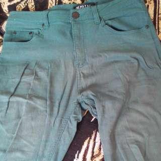窄管休閒褲 (墨綠/長)