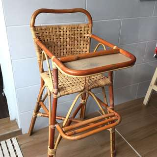 (reduced price!!) Vintage Rattan Baby High Chair