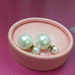 ⭐ (全新含郵)日本帶回雙面珍珠兩戴法耳環 ⭐