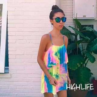 「二手」夏威夷海灘surf浪花染荷葉邊寬鬆吊帶洋裝