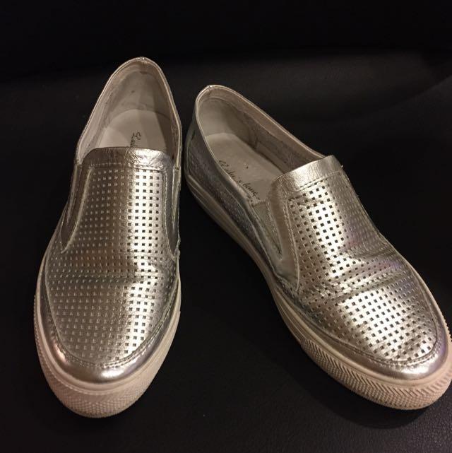 真皮銀色懶人鞋(37號)二手