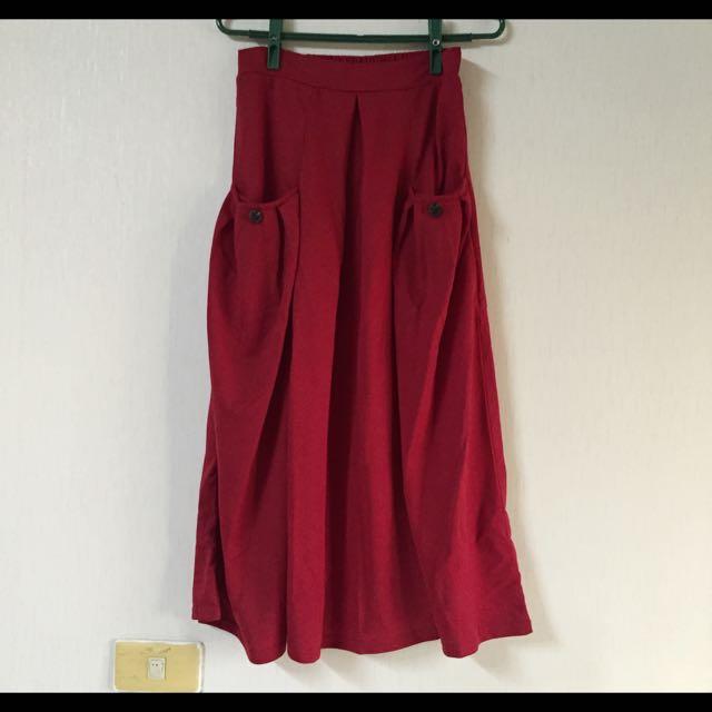 (保留中)純粹清倉🎉紅色及踝長裙