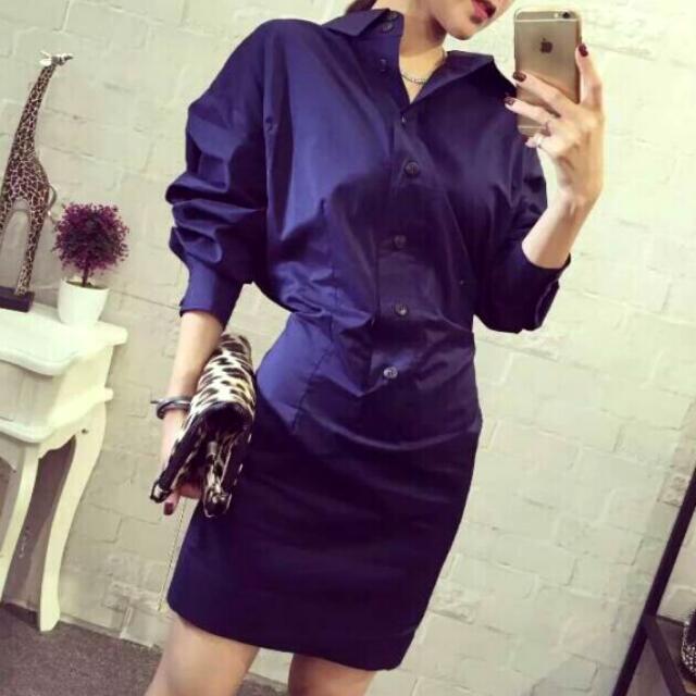 時尚獨特設計收腰顯瘦襯衫裙不規則長袖洋裝