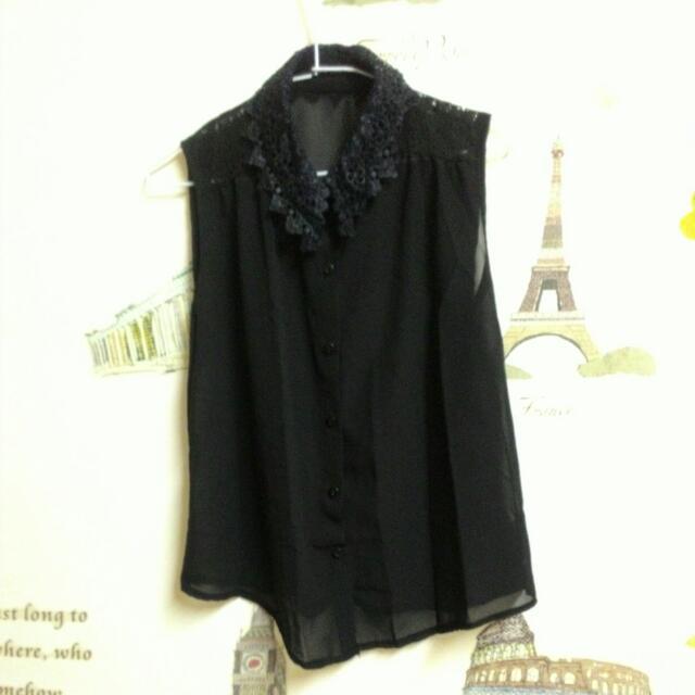 全新,黑色立領蕾絲雪紡襯衫式背心