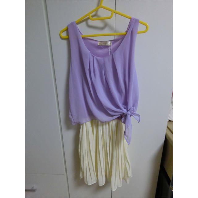 二手 連身裙 假2件式拼接裙 雪紡紗 澎裙