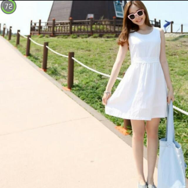 洋裝 韓國棉麻素色修身背心裙 連身裙