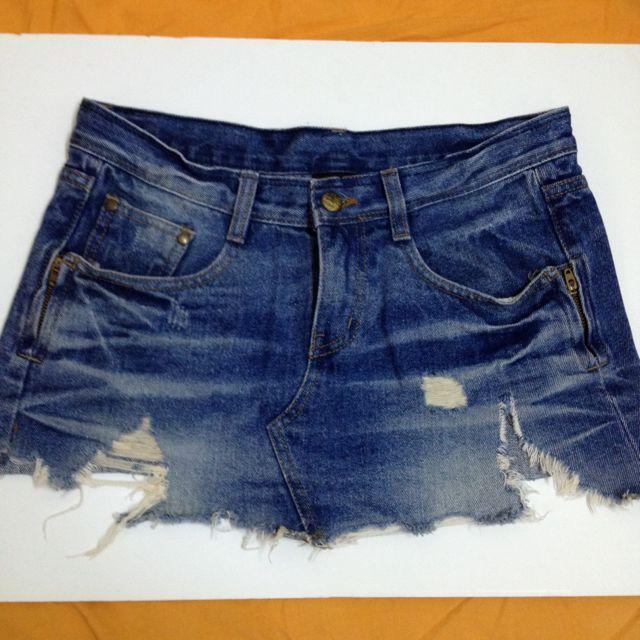 破壞風格 單寧短裙 牛仔迷你裙 深藍色
