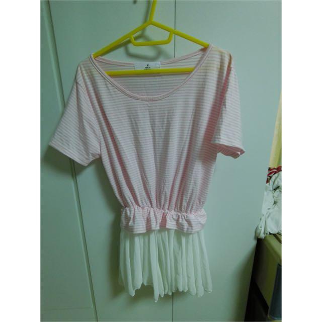 二手 粉色條紋 拼接雪紡 紗裙