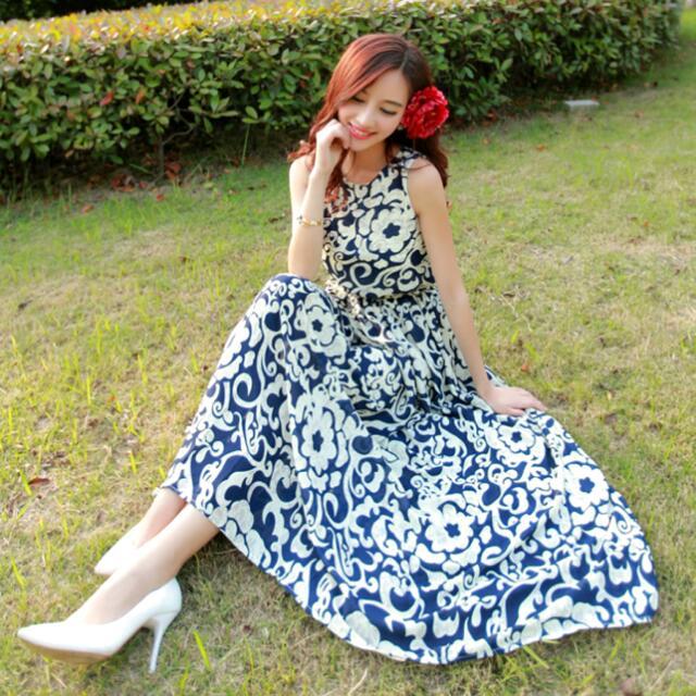 優質復古波希米亞風印花無袖長洋裝 ( 紅色、藍色 )