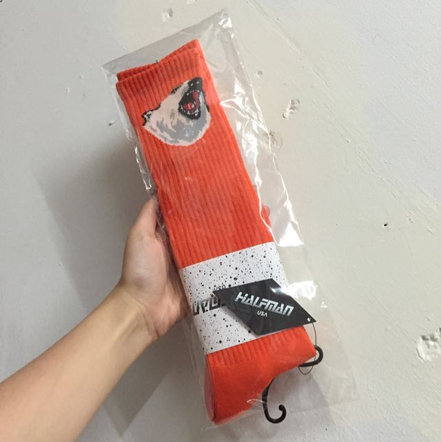 全新 ▪️ Halfman 橘色熊高筒襪