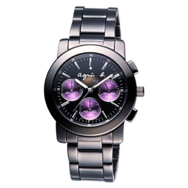 全新 agnes b. 魔幻魅紫三眼計時腕錶(限時特價中)