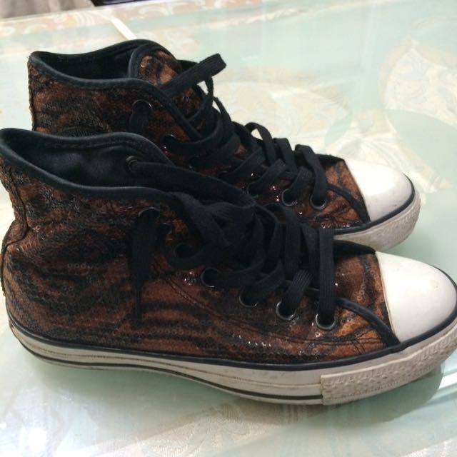 All Star 斑馬紋亮片高筒鞋
