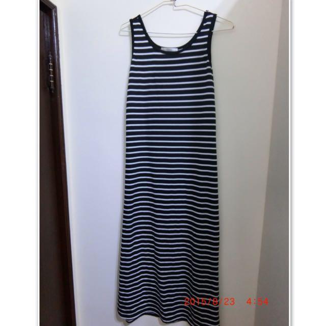 caco 黑白條紋長裙