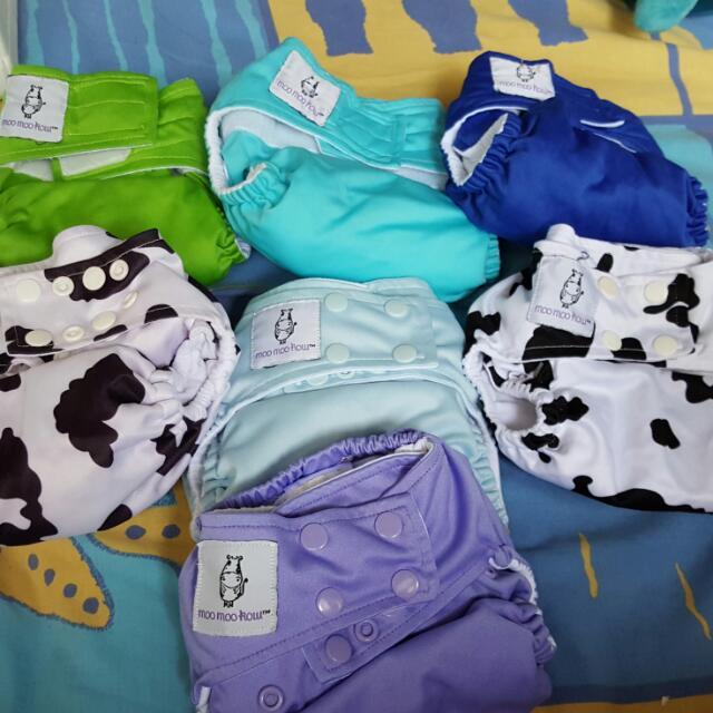 Cloth Diaper Bundle For Sale. Moo Moo Kow, Bumgenius, Fuzzibunz And Charlie Banana