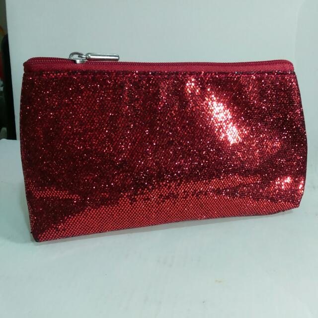 購自香港H&M紅色亮片化妝包