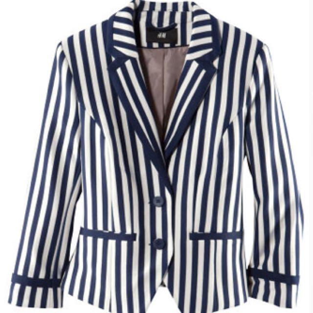 H&M Blue/White Striped Blazer